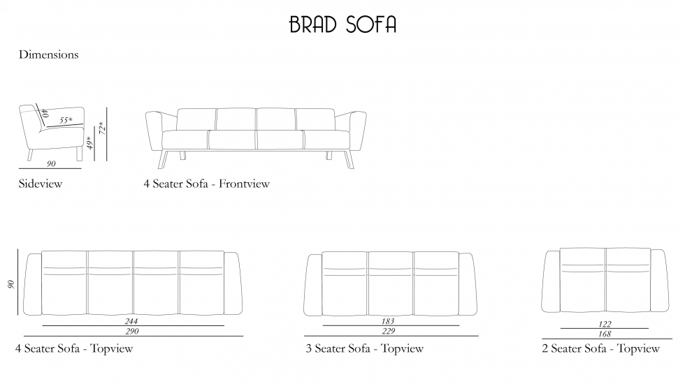 Measurements brad sofa